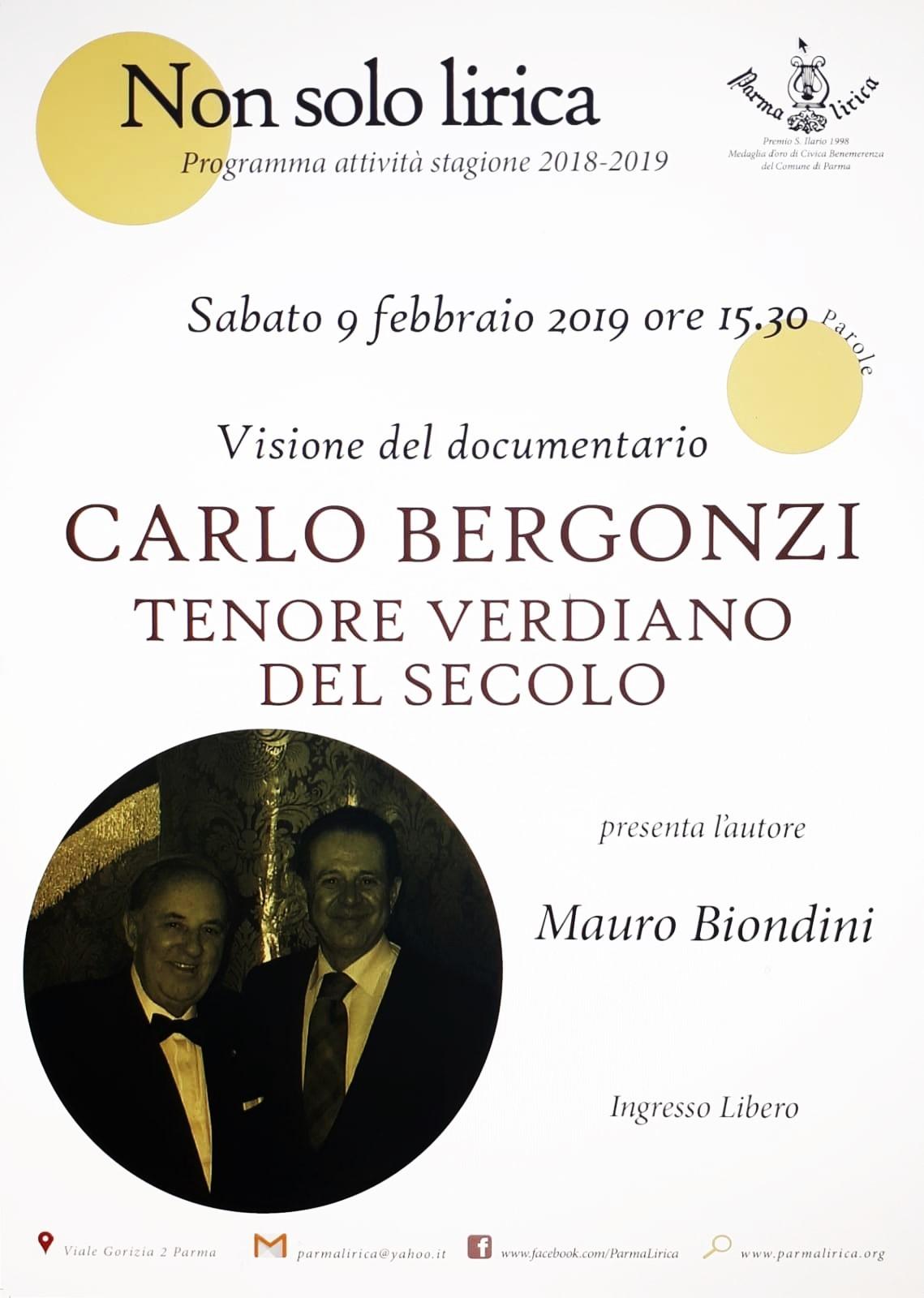 Bergonzi tenore verdiano con Mauro Biondini sabato a Parma Lirica