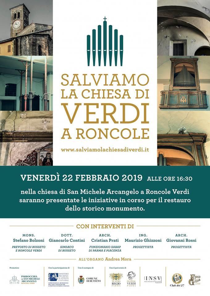 """Consolidamento e Restauro della Chiesa di San Michele Arcangelo di Roncole"""", chiesa di Giuseppe Verdi."""