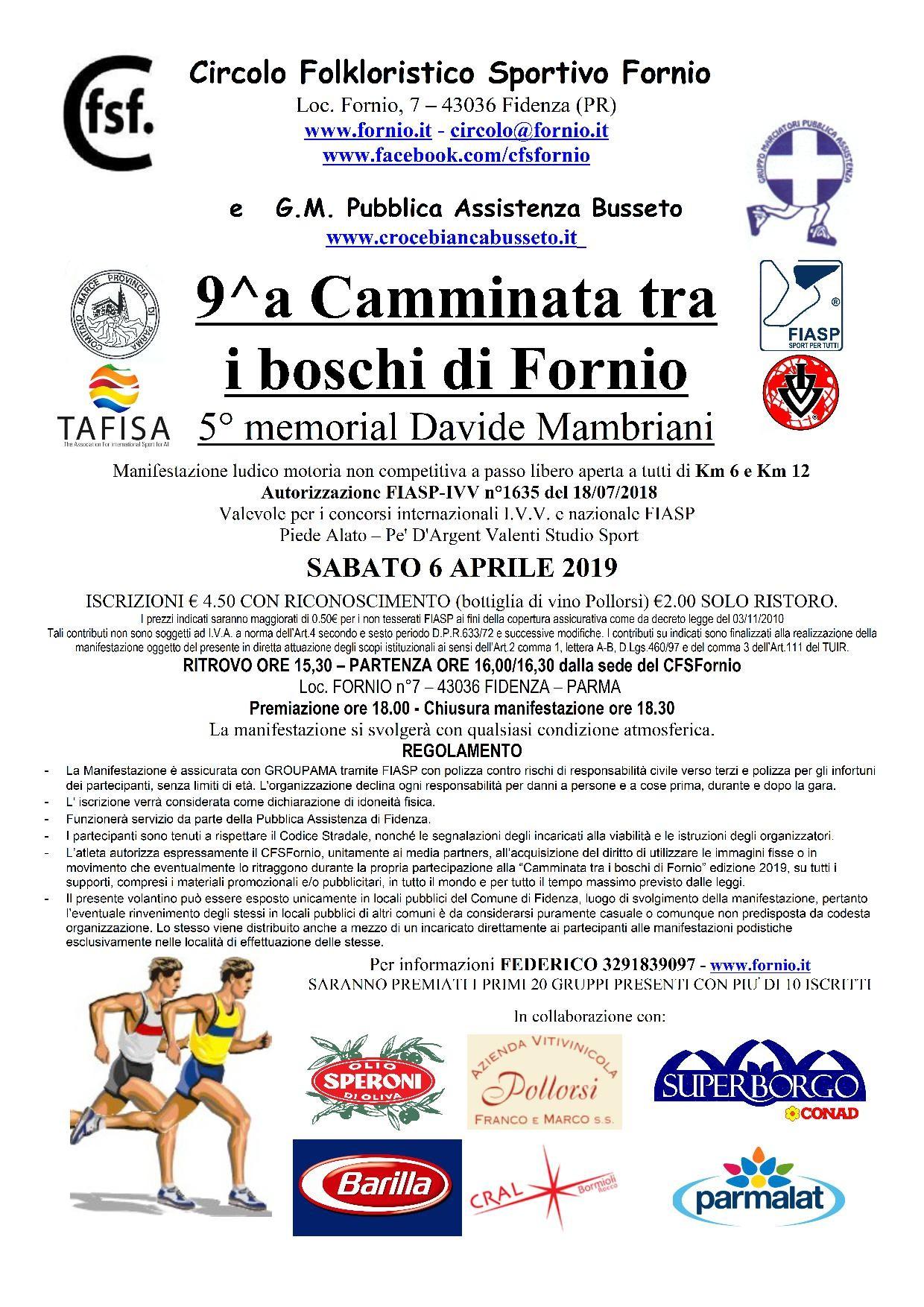 9^a Camminata tra i boschi di Fornio  5° memorial Davide Mambriani