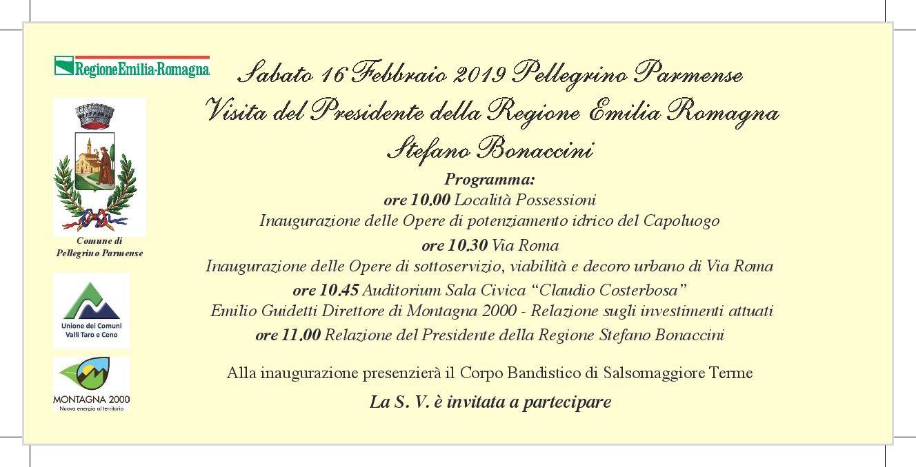 Visita del Presidente  della Regione Emilia Romagna Stefano Bonaccini a Pellegrino Parmense