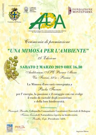 """Il premio """"Una Mimosa per l' Ambiente"""" a Paola Favero, Tenente Colonnello"""