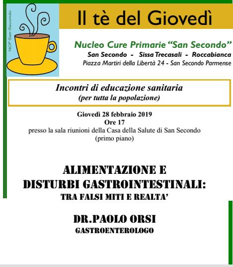 """A  """"Il tè del giovedì"""": disturbi gastrointestinali"""