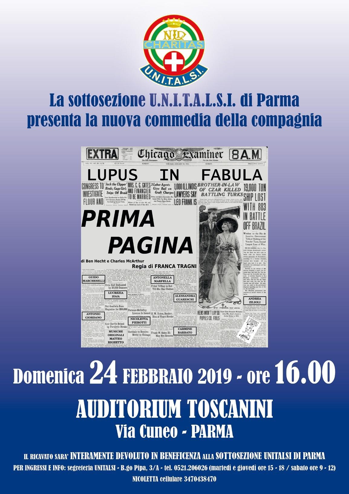 """""""Prima Pagina"""" con compagnia teatrale Lupus in Fabula all'Auditorium Toscanini"""