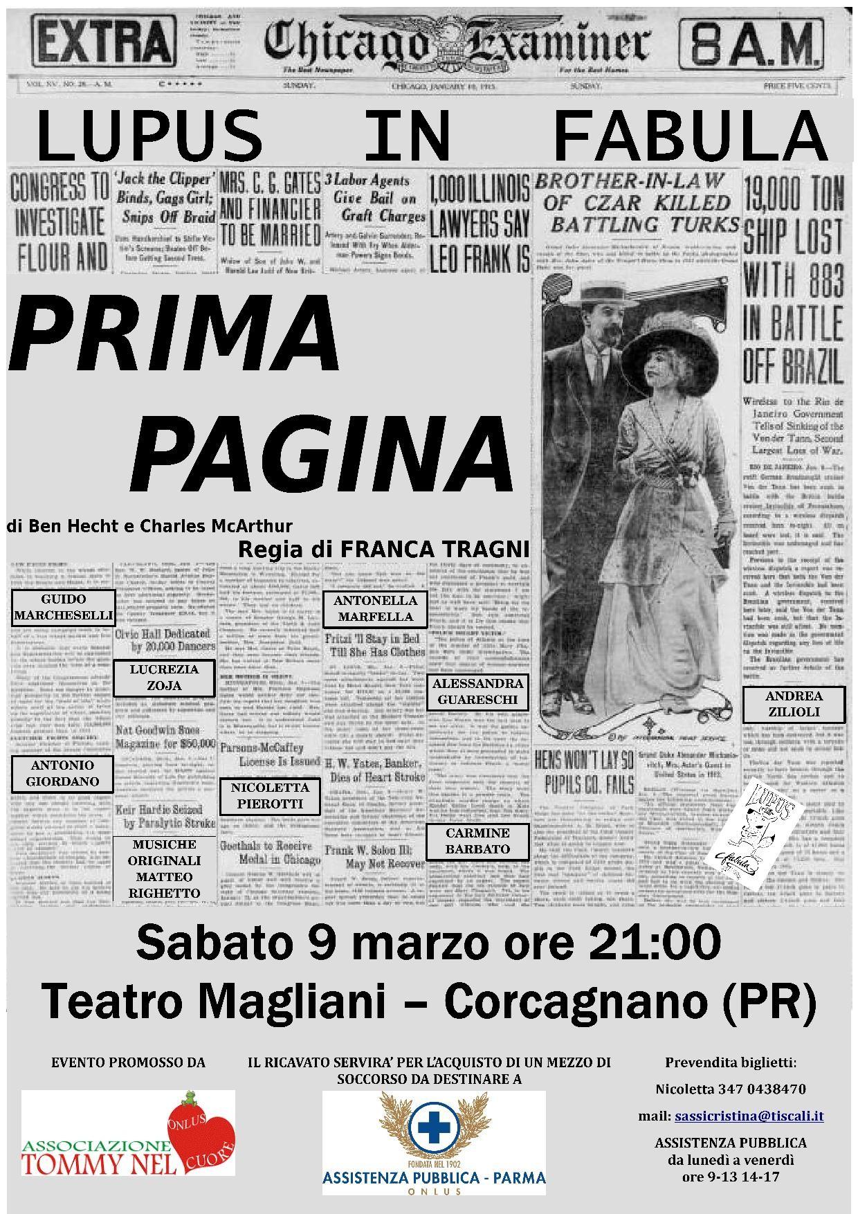 """""""Prima Pagina"""" con compagnia teatrale Lupus in Fabula al Teatro Ennio Magliani"""