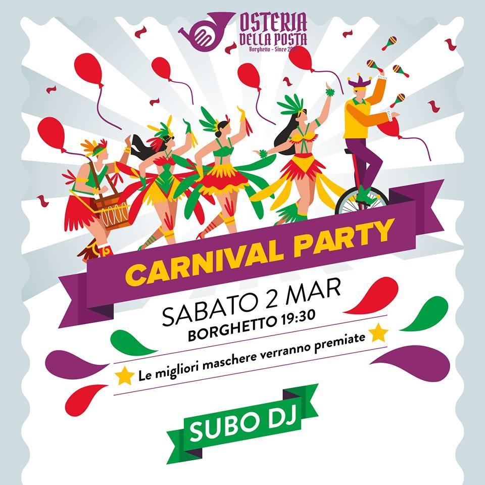 Carnival party all'Osteria della Posta a Borghetto