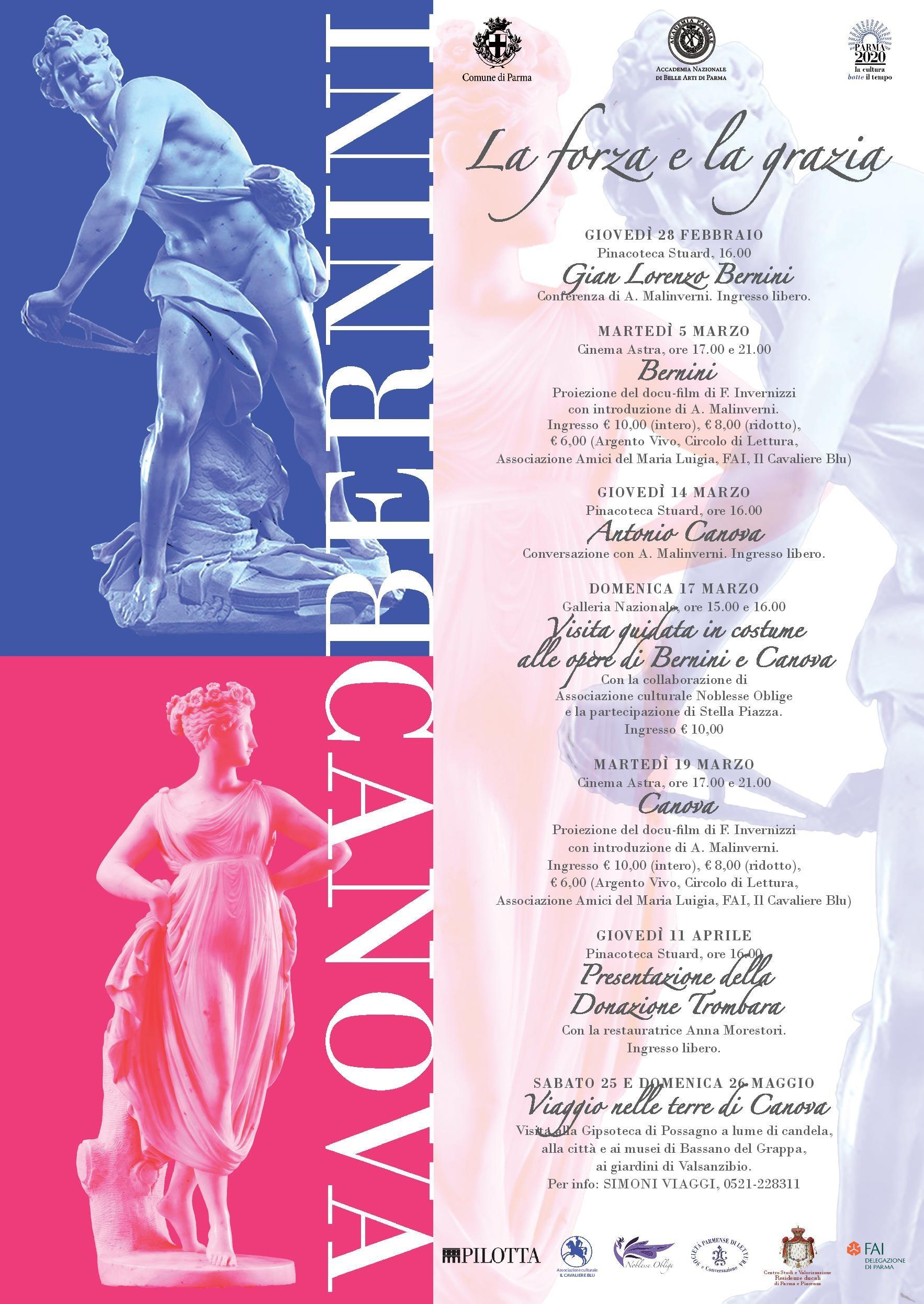 La forza e la grazia: Gian Lorenzo Bernini e Antonio Canova;  proiezioni, conferenze e visite guidate.