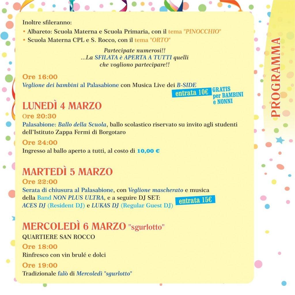 Carnevale a Borgotaro, programma dal 3 al 6 marzo