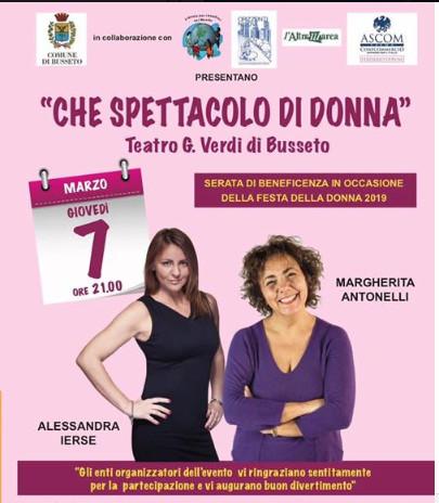 """""""CHE SPETTACOLO DI DONNA"""", organizzato  dall'Associazione Fidenza per i Bambini nel Mondo."""