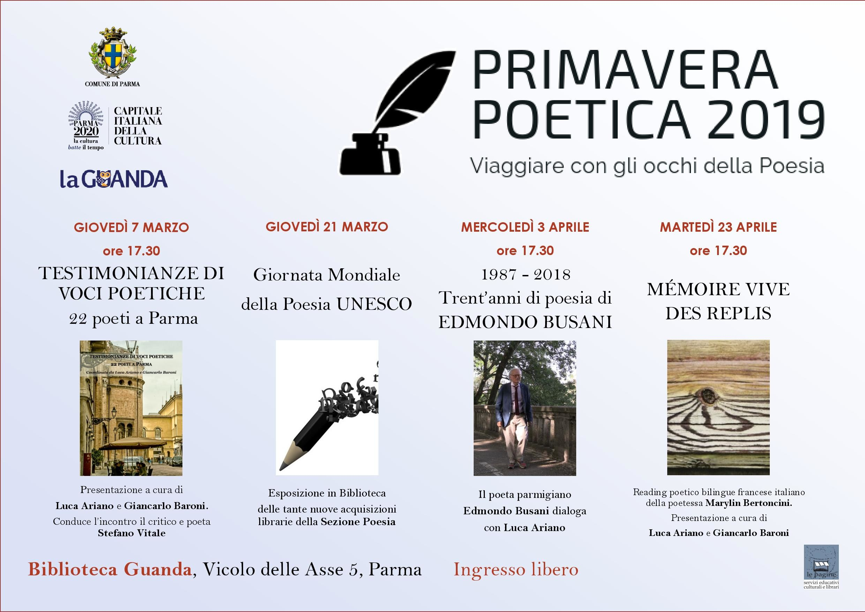 Primavera poetica 2019,  programma