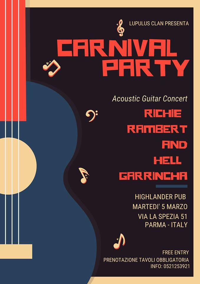 Carnival Party - Richie Rambert + Hell Garrincha al pub Highlander