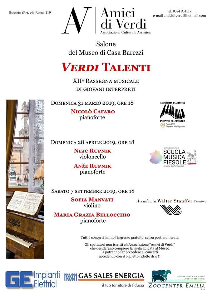 """""""Verdi talenti"""" al Museo  Casa Barezzi"""