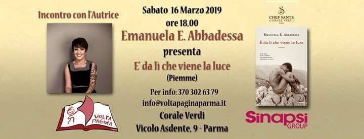"""""""Marzo è donna"""" al ristorante Corale Verdi:  Emanuela E. Abbadessa con il suo nuovo romanzo """"E' da lì che viene la luce"""""""