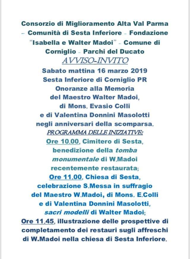 Onoranze alla memoria di Walter Madoi e Mons. Colli