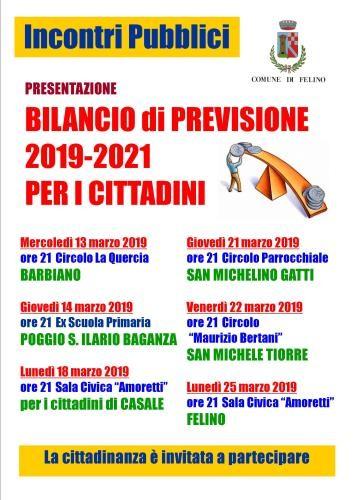 Presentazione del bilancio di previsione 2019-2021 per i cittadini di Felino