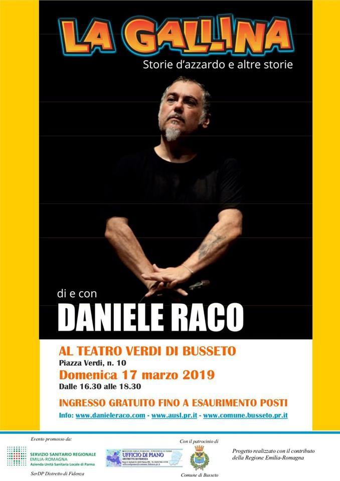 """A Busseto """"La gallina. Storie d'azzardo e altre storie""""  di e con Daniele Raco, noto comico di Zelig"""