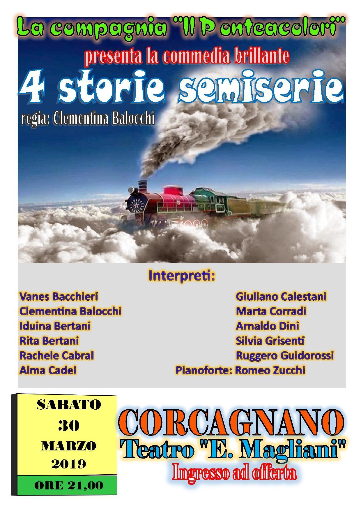 """""""Quattro  storie semiserie"""" commedia brillante al Teatro Ennio Magliani"""