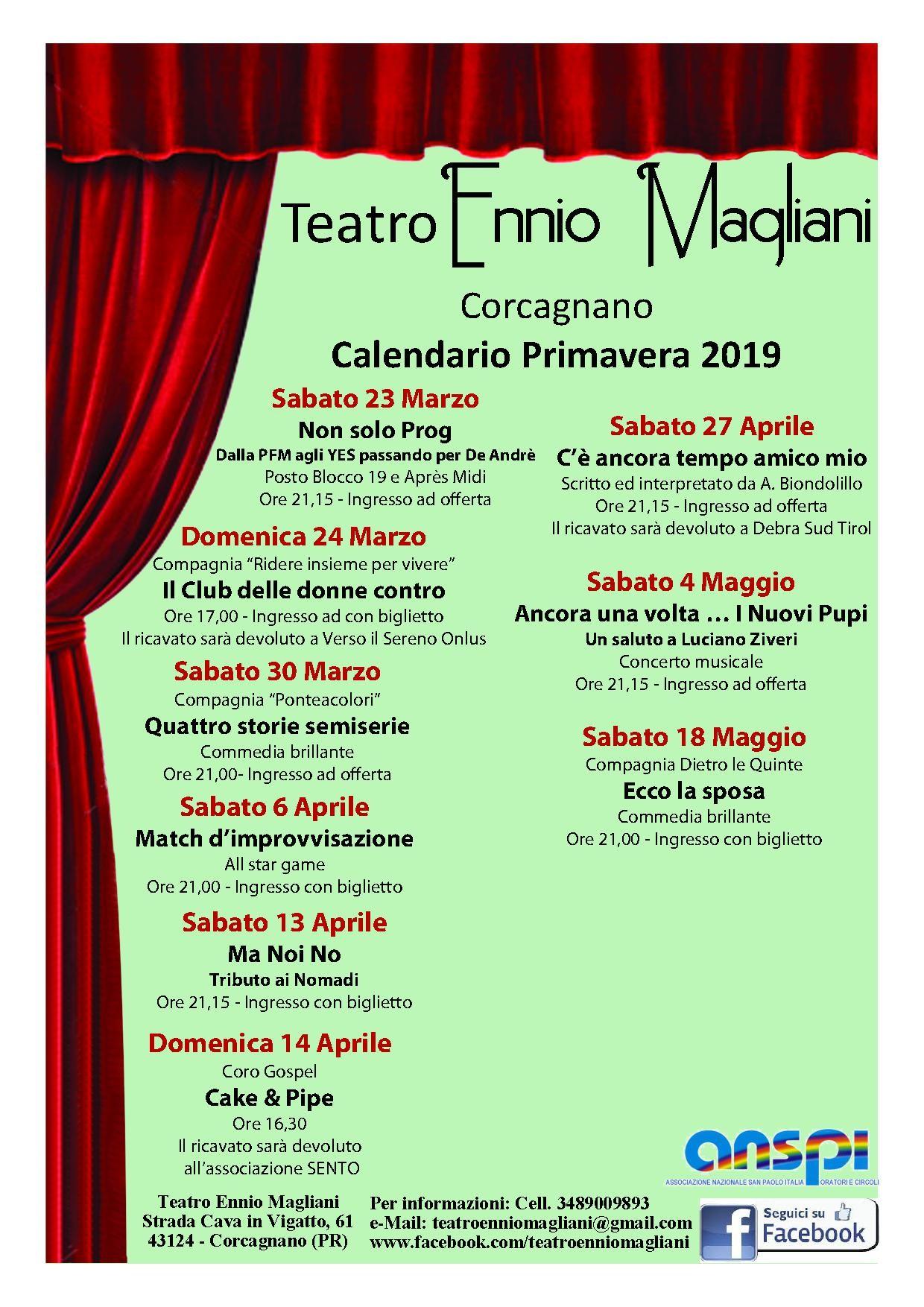 Stagione primaverile del  Teatro Ennio Magliani
