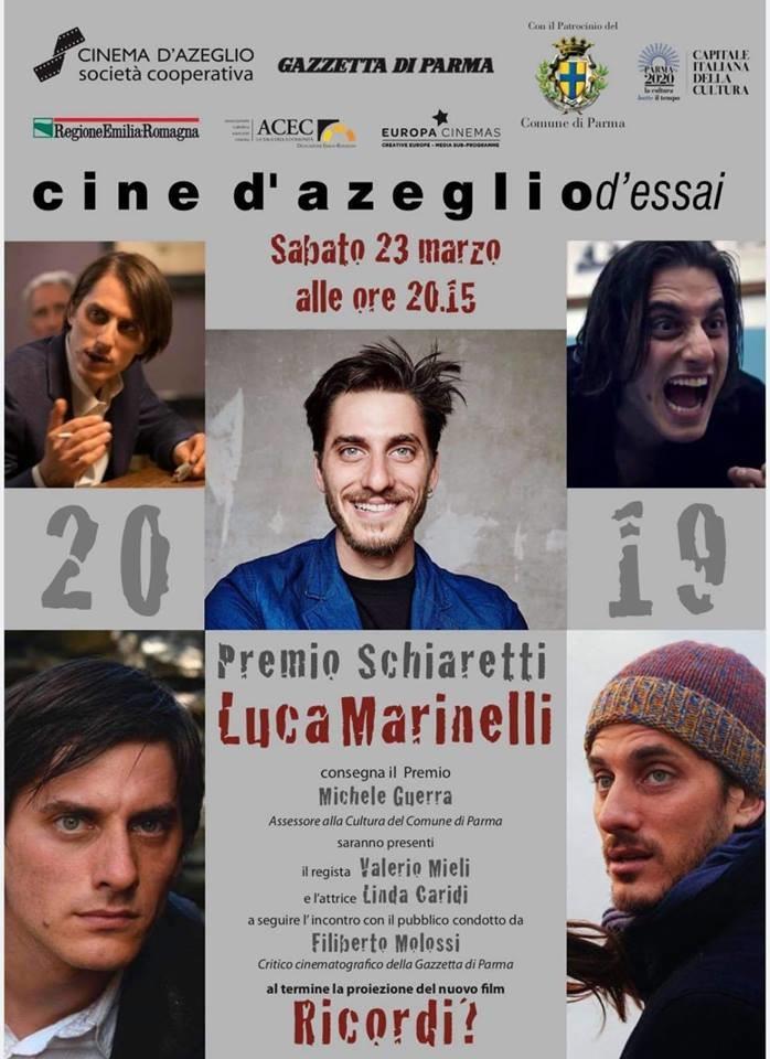 """Consegna del """"Premio Schiaretti"""" all'attore Luca  Marinelli al Cinema D'Azeglio"""