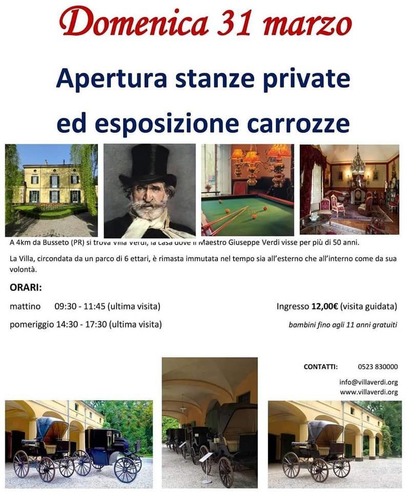 A Villa Giuseppe Verdi apertura delle stanze private ed esposizione di carrozze