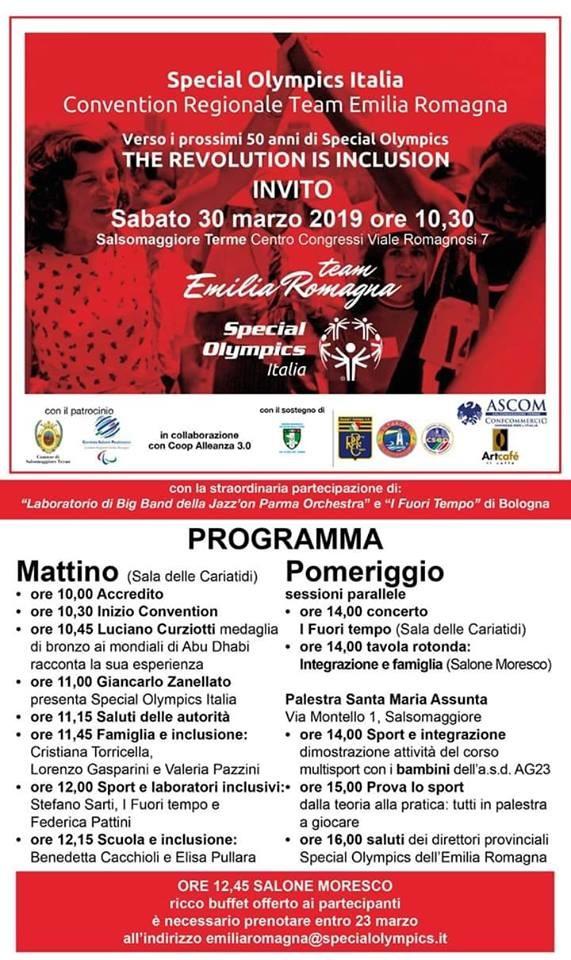Speciale Olympics Italia, convention regionale del team Emilia Romagna