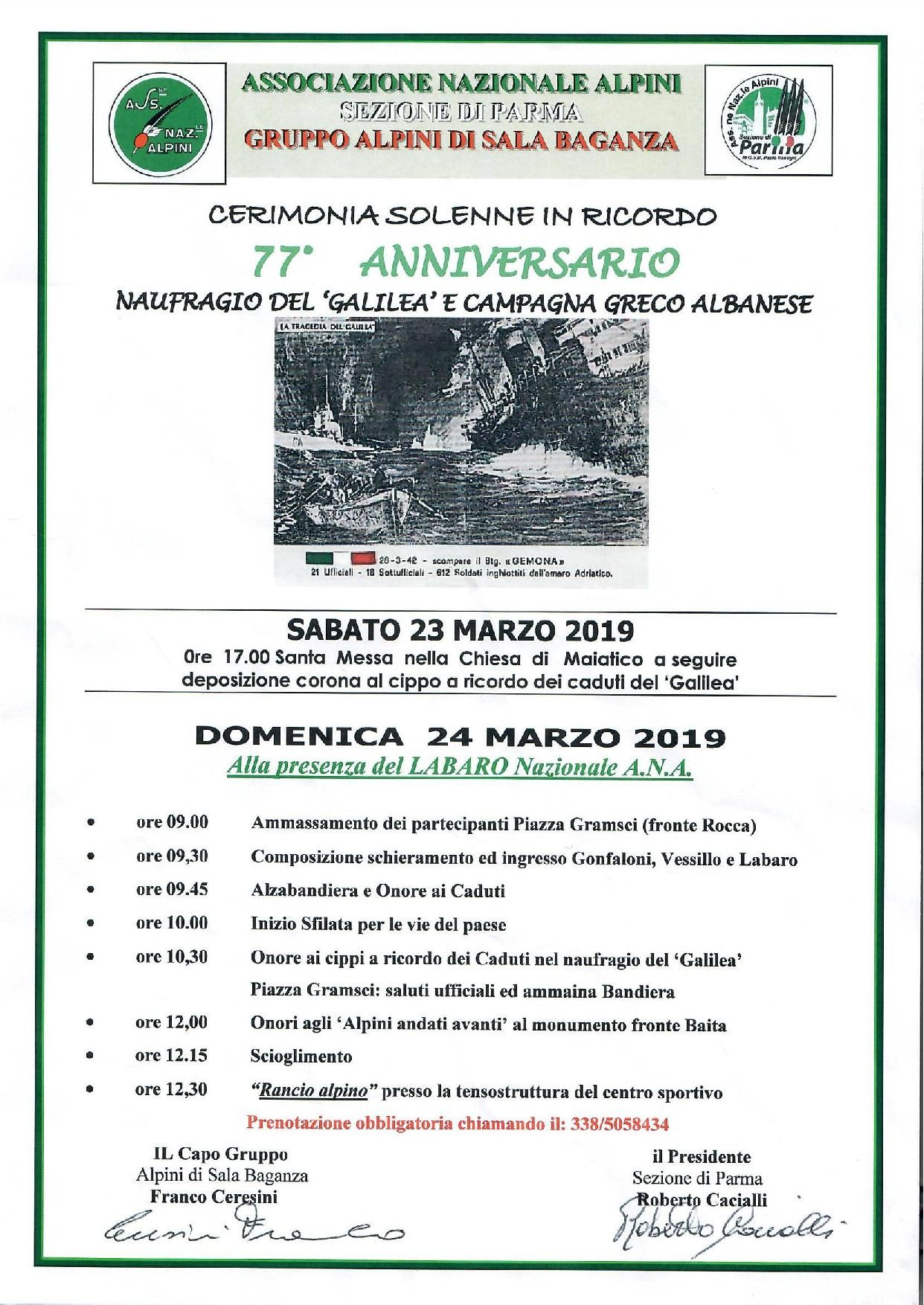 Celebrazioni solenni per ricordare le vittime del siluramento del piroscafo Galilea