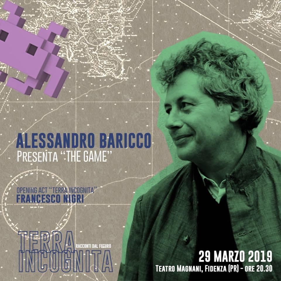Venerdì 29 marzo Alessandro Baricco aprirà la prima edizione di Terra Incognita - Racconti Dal Futuro.