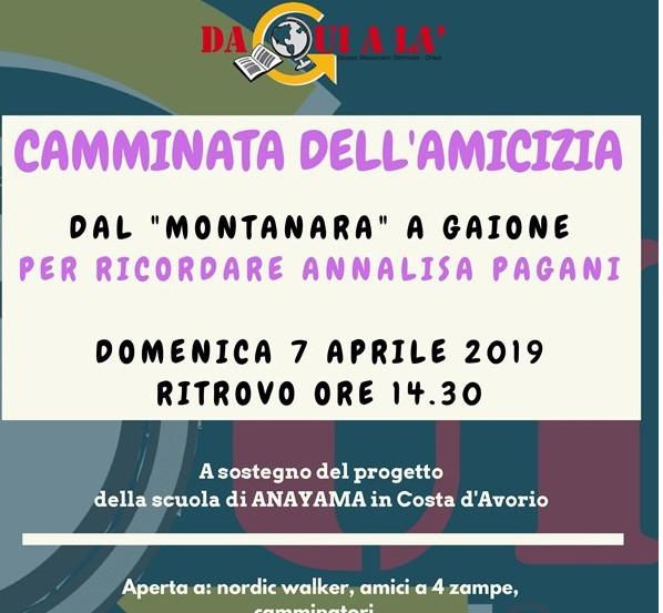 Camminata dell'amicizia Il 7 aprile l'evento proposto da Associazione Daquialà