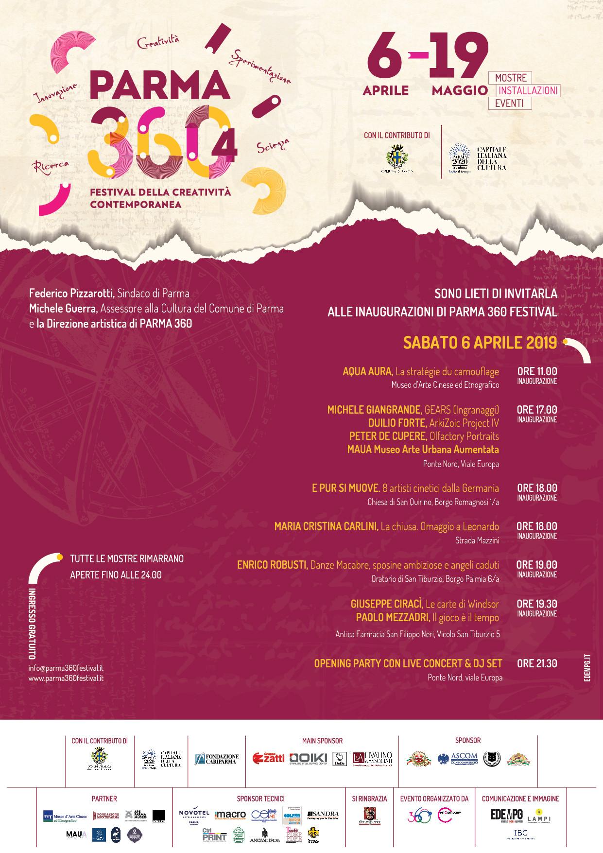PARMA 360 Festival della creatività contemporanea, programma dell'inaugurazione