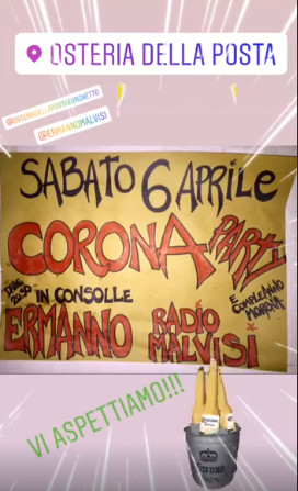 CORONA PARTY all'Osteria della Posta a Borghetto