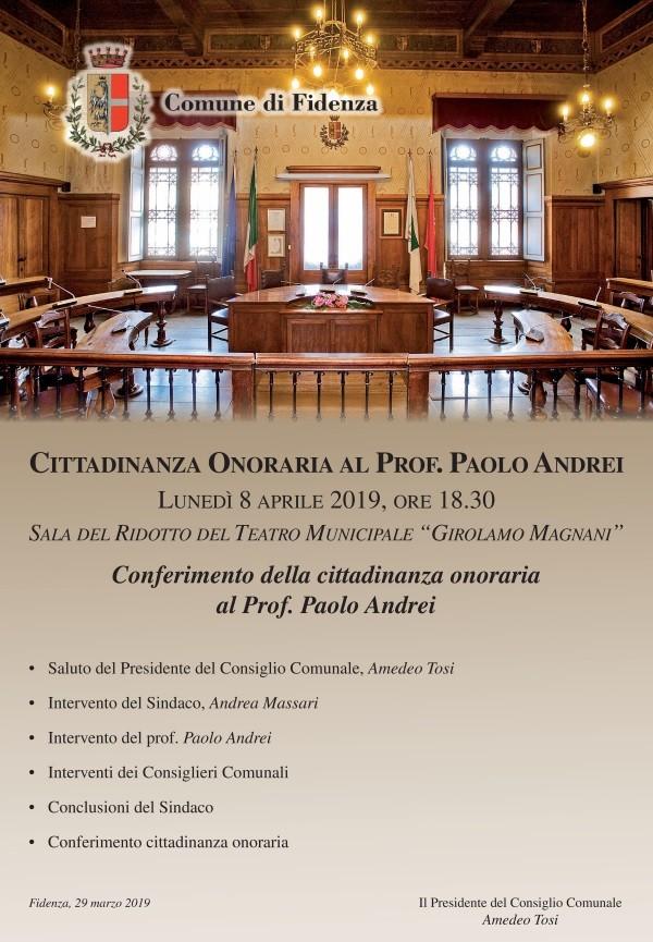 Conferimento della cittadinanza onoraria al Prof. Paolo Andrei, Magnifico Rettore dell'Università di Parma