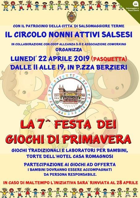 Festa dei Giochi di Primavera Il 22 aprile l'associazione Nonni Salsesi invita alla 7° edizione