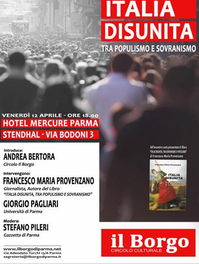 """Incontro """"ITALIA DISUNITA- tra populismo e sovranismo"""""""