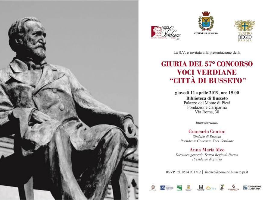 """Presentazione della     GIURIA DEL 57° CONCORSO   VOCI VERDIANE    """"CITTÀ DI BUSSETO"""""""