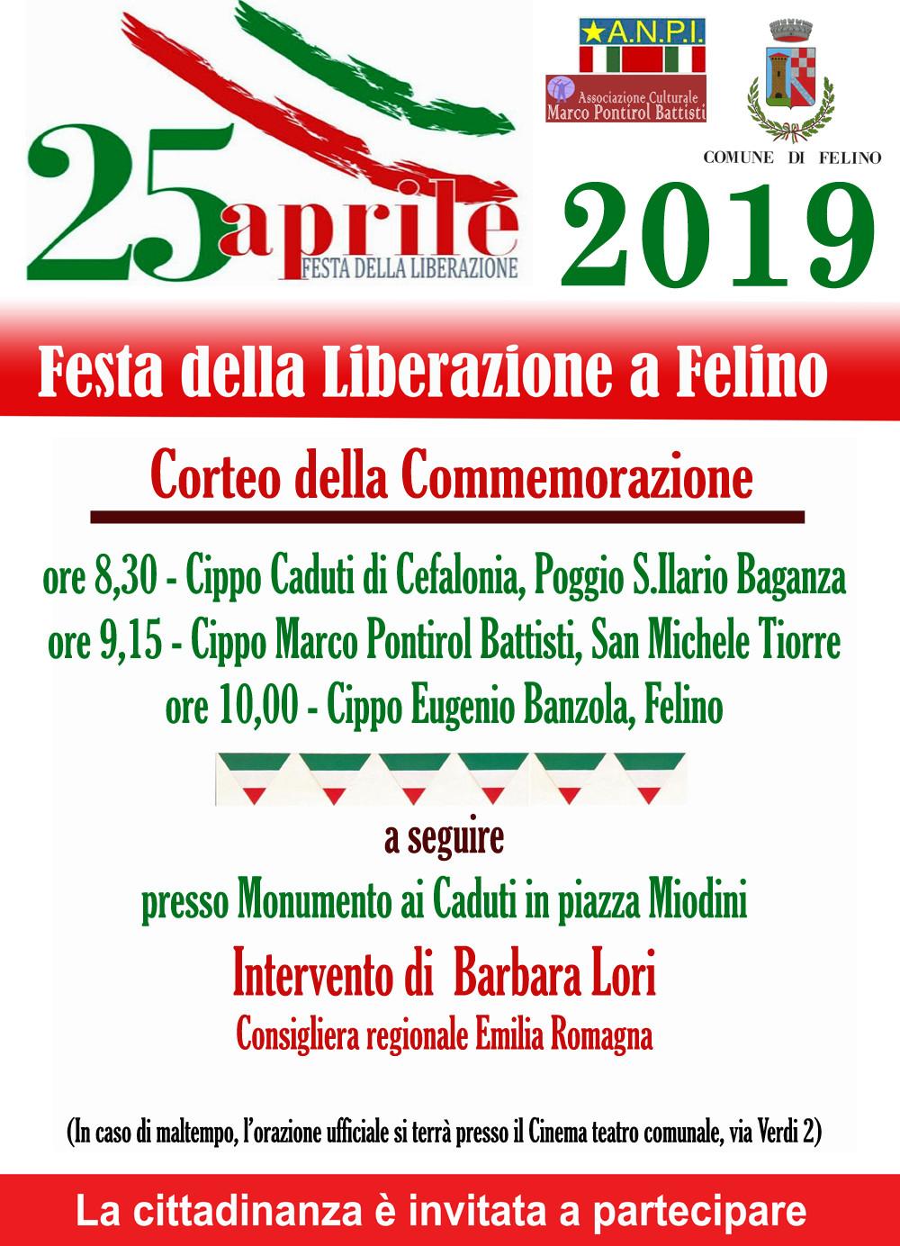 25 APRILE: CALENDARIO EVENTI  FESTA DELLA LIBERAZIONE A FELINO