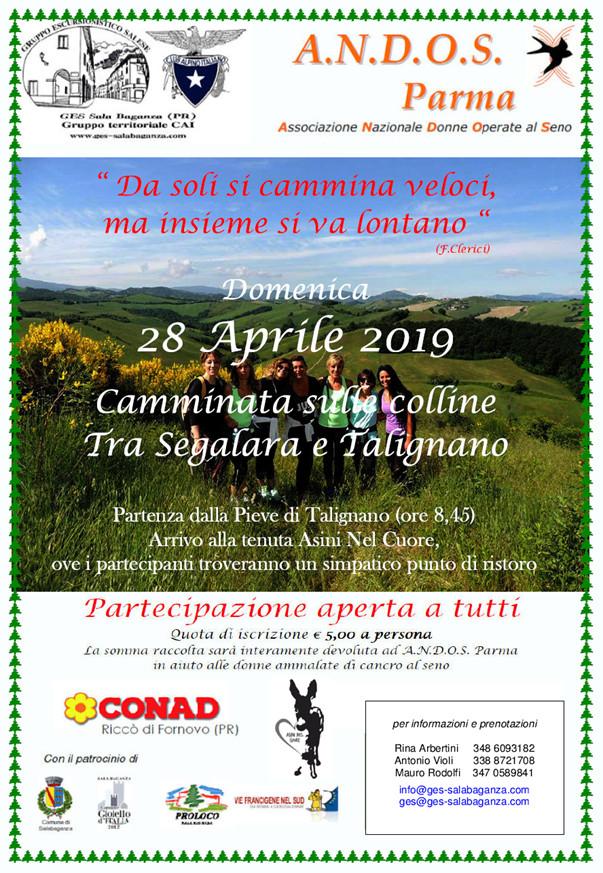 ANDOS Parma  Il 28 aprile la camminata sulle colline di Talignano