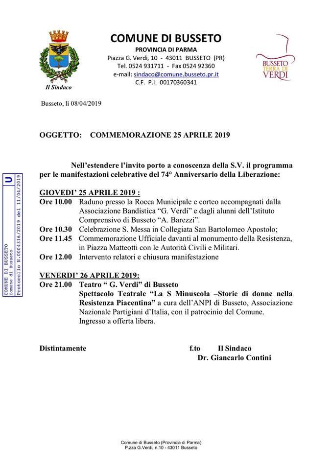 Commemorazione 25 Aprile a Busseto