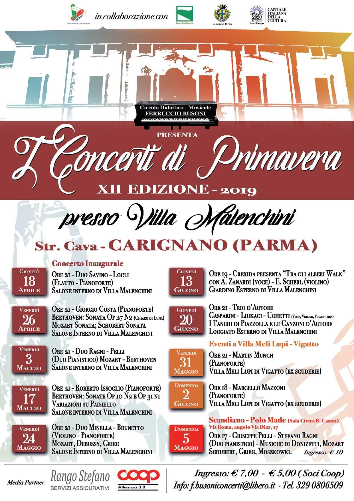 I concerti di primavera  a  Villa Malenchini, programma