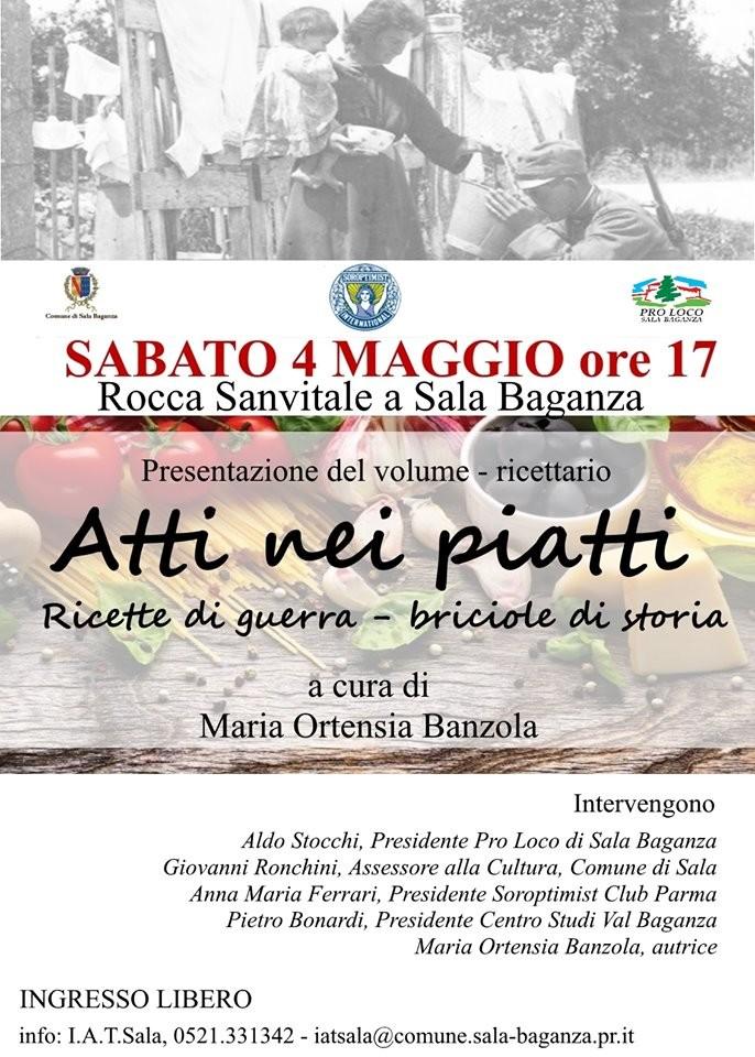 """Presentazione in Rocca del  ricettario """"Atti nei piatti. Ricette di guerra – briciole di storia"""" a cura di Maria Ortensia Banzola."""