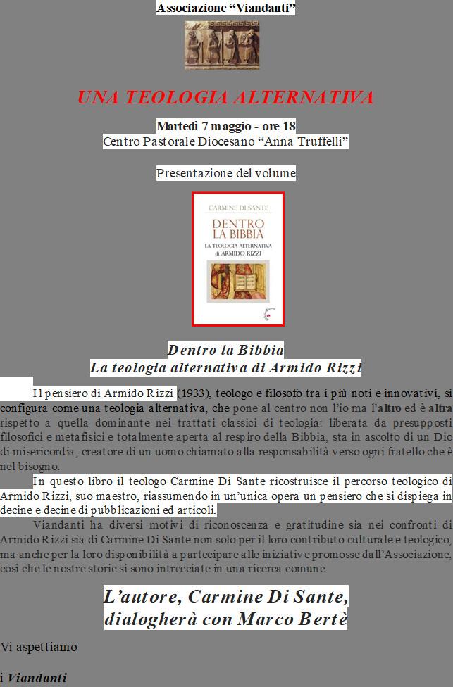 """PRESENTAZIONE VOLUME """"LA TEOLOGIA ALTERNATIVA DI ARMIDO RIZZI"""""""
