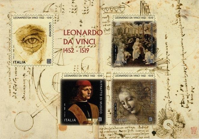 Emissione di francobolli commemorativi di Leonardo da Vinci,     nel V centenario della scomparsa