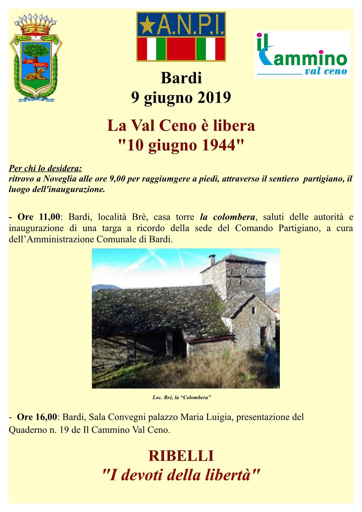 Continuano le celebrazioni dei 75°. Il 10 giugno 1944 la Val Ceno è libera.