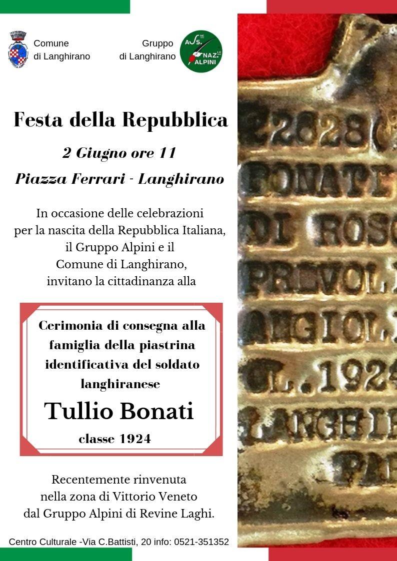 Restituzione alla famiglia della piastrina identificativa del soldato Tullio Bonati a Langhirano