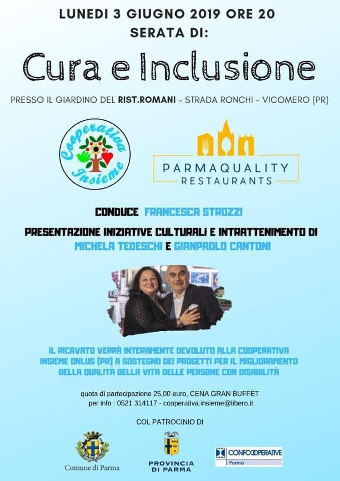 Serata di cura e inclusione;: cena e spettacolo benefico con Michela Tededschi