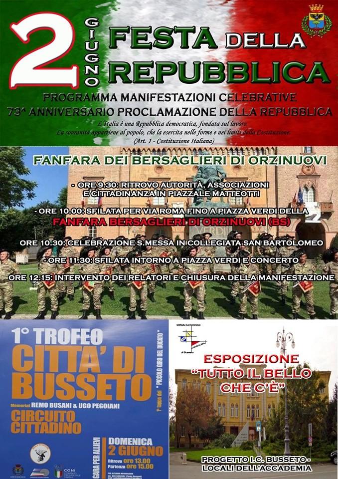 La fanfara dei bersaglieri per festeggiare il 2 giugno a Busseto