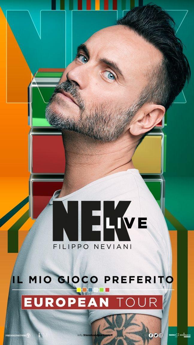 NEK, col suo nuovo IL MIO GIOCO PREFERITO  - European tour al Regio di Parma