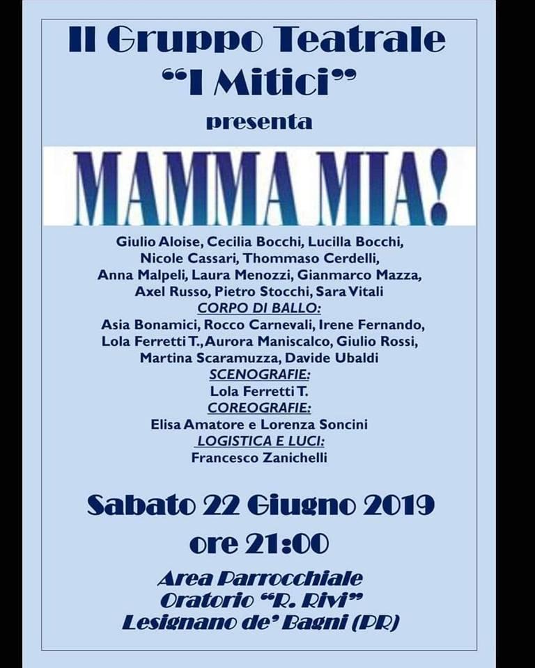 """""""Mamma mia"""" con il gruppo teatrale """"I mitici"""""""