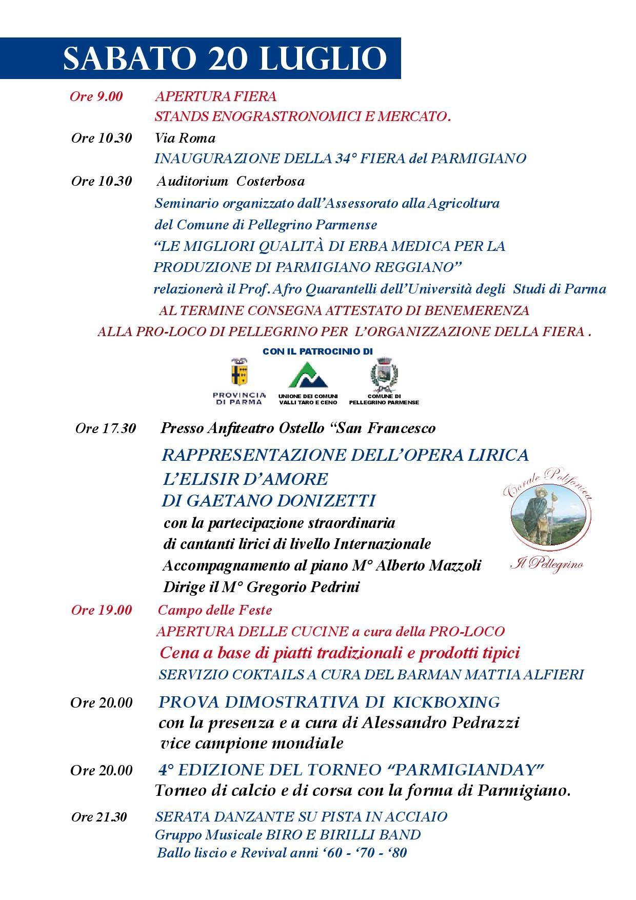 Fiera del Parmigiano Reggiano di Montagna a Pellegrino Parmense, programma del 20 luglio