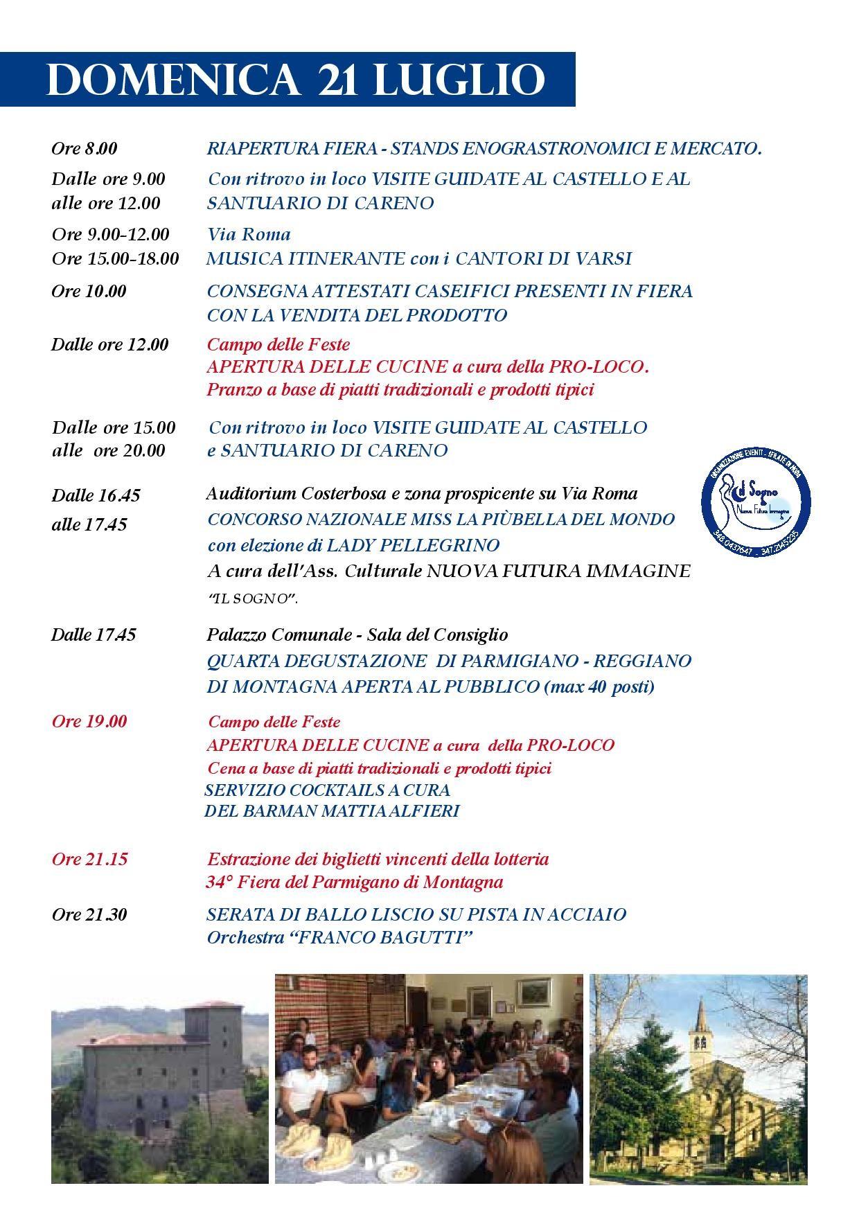 Fiera del Parmigiano Reggiano di Montagna a Pellegrino Parmense, programma del 21 luglio