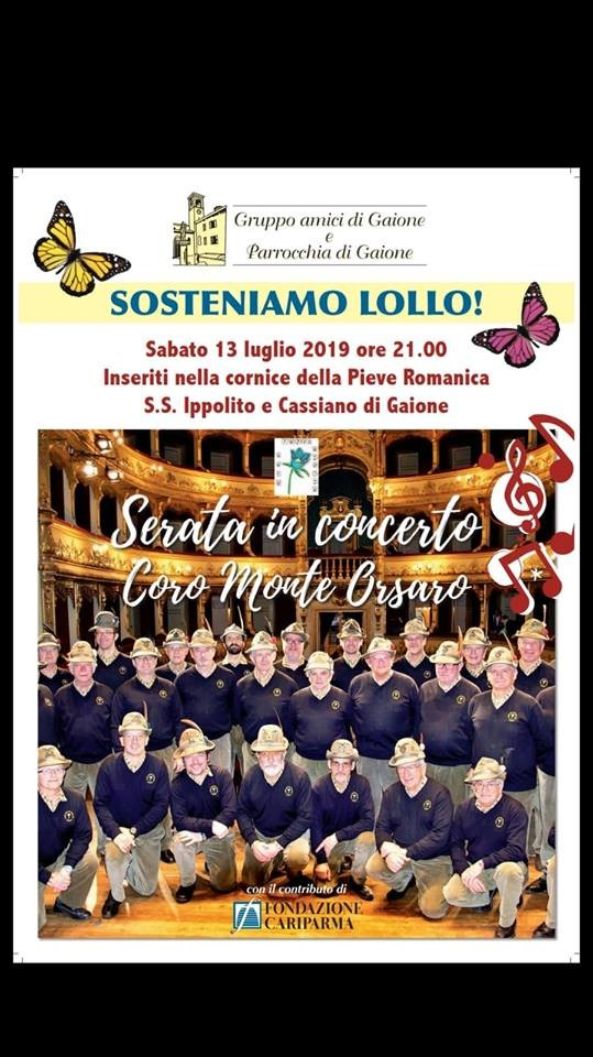 Sosteniamo Lollo! Concerto col coro Monte Orsaro