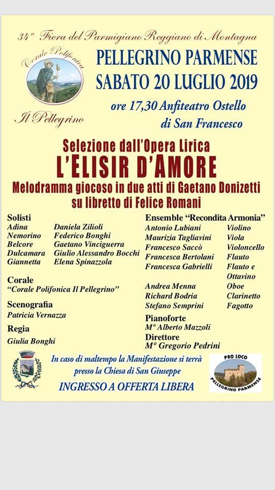 Fiera del Parmigiano Reggiano di Montagna a Pellegrino Parmense: L'ELISIR D'AMORE di Gaetano Donizetti